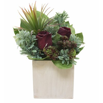 Natural Succulents Roses Centerpiece in Planter Flower Color: Burgundy