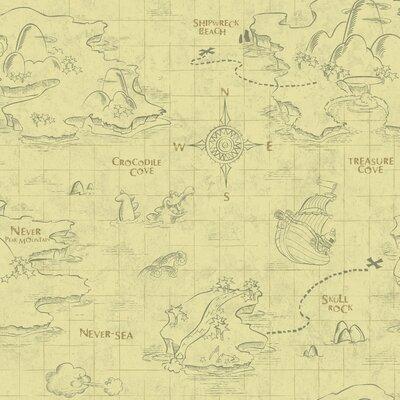 Walt Disney Kids II Pirate Map 33' x 20.5 Wallpaper Color: Gray and Khaki