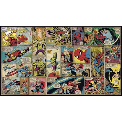 Roommates JL1290M Marvel Classics Comic Panel Mural 6 ft. x 10.5 ft. - Ultra-strippable RMMT1640