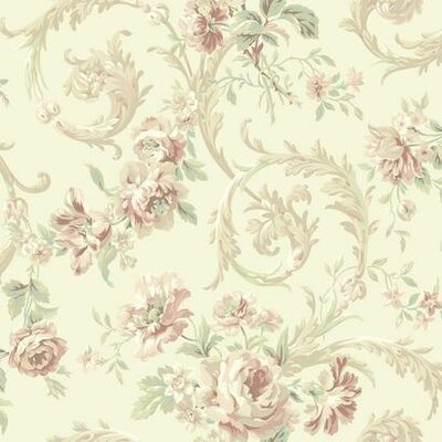 Shimmering Topaz Rococco 33' x 20.5 Floral Wallpaper