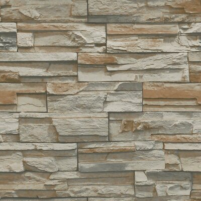 Natural Elements 33' x 20.5 Flat Stone Wallpaper Color: Brown, Grey, Taupe