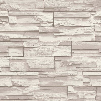 "Natural Elements 33' x 20.5"" Flat Stone Wallpaper Color: Cream, Light Taupe SS1021"