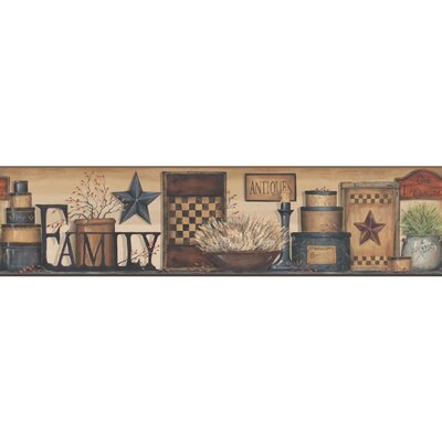 Country Keepsakes Family Shelf  15' x 9 Scenic Border Wallpaper