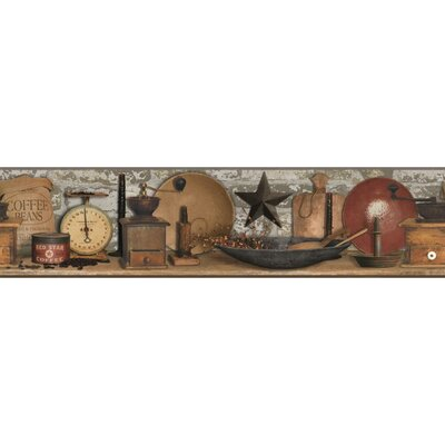 Country Keepsakes 15' x 5 Coffee Border Wallpaper Color: Grey, Tan, Brown, Red, Black