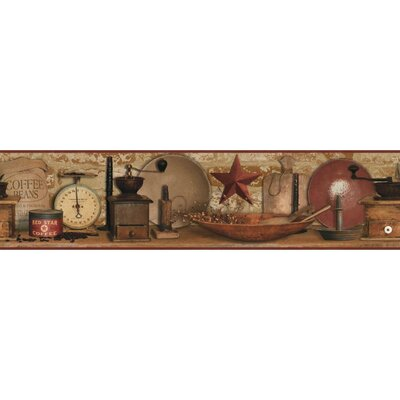 Country Keepsakes 15' x 5 Coffee Border Wallpaper Color: Red/Brown, Red, Brown, Black, Beige, Ecru