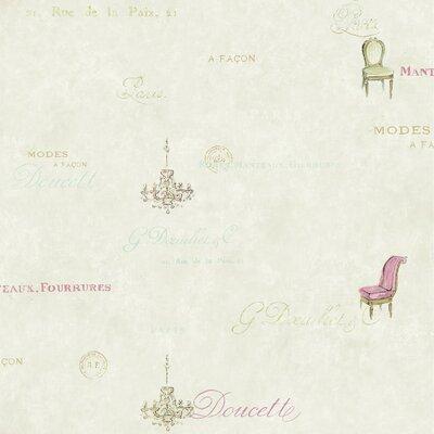 American Script/Chair Sidewall  33' x 20.5 Scenic Wallpaper Color: Cream / Warm Beige / Aqua / Hot Pink / Gold
