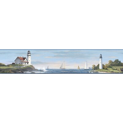 Nautical Living Sailing Lighthouse 15' x 9 Scenic Border Wallpaper