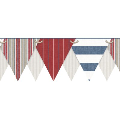 Nautical Living Pennant 15' x 8.5 Stripe Border Wallpaper