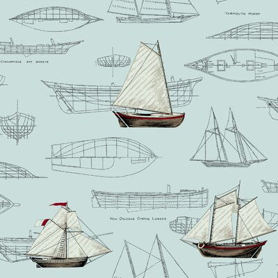 Nautical Living Pond Yachts 33' x 20.5 Scenic Wallpaper