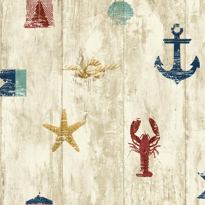 Nautical Living Weathered Seashore 33' x 20.5 Scenic Wallpaper Color: Beige, Cream, Red, Navy Blue, Aqua and Gold