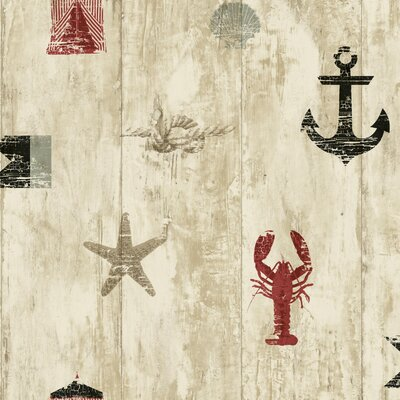 Nautical Living Weathered Seashore 33' x 20.5 Scenic Wallpaper Color: Cream, Beige, Tan, Gray, Red and Black