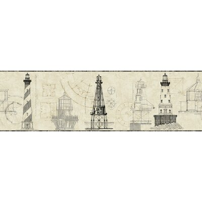 Nautical Living Architectural Lighthouse 15' x 9 Scenic Border Wallpaper