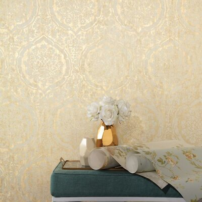 Normandy Manor 27' x 27' Damask Roll Wallpaper