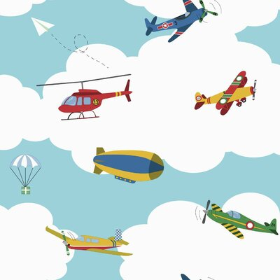 Waverly Kids In 33' x 20.5 The Clouds Wallpaper Color: Blue, Red, Yellow, Green, White
