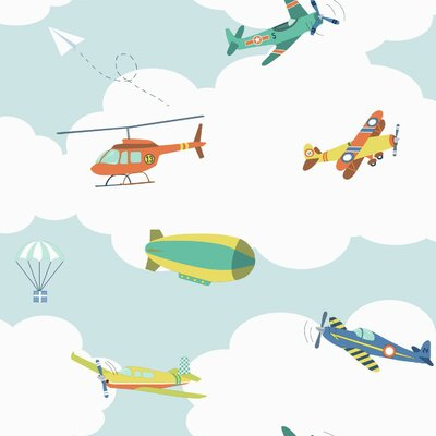 Waverly Kids In 33' x 20.5 The Clouds Wallpaper Color: Light Blue, White, Turquoise, Teal, Yellow, Blue