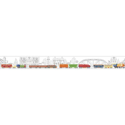 Growing Up Kids All Aboard! Removable 1.5' x 15 Wallpaper Border Color: White/Yellow/Orange/Blue/Black/Red/Gray
