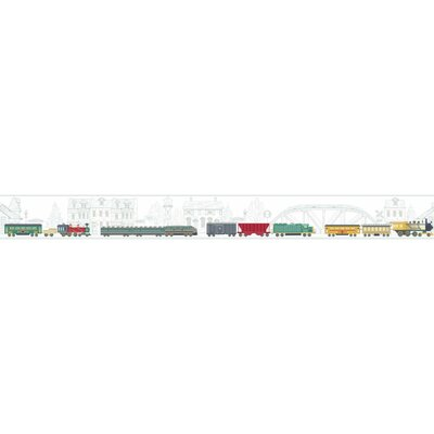 Growing Up Kids All Aboard! Removable 1.5' x 15 Wallpaper Border Color: White/Yellow/Tan/Beige/Gray/Blue/Teal