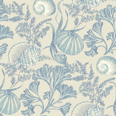 Nautical Living Coral Shells 33' x 20.5 Botanical Wallpaper