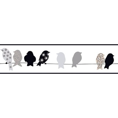 York Wallcoverings Bistro 750 Bird On A Wire Prepasted Wallpaper Border - Color: Black / Gay / Sand at Sears.com