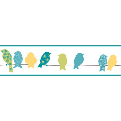 York Wallcoverings Bistro 750 Bird On A Wire Prepasted Wallpaper Border - Color: Teal Blue / Yellow / Lime at Sears.com