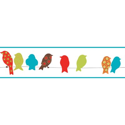 York Wallcoverings Bistro 750 Bird On A Wire Prepasted Wallpaper Border - Color: Ruby Red / Lime / Teal Blue at Sears.com