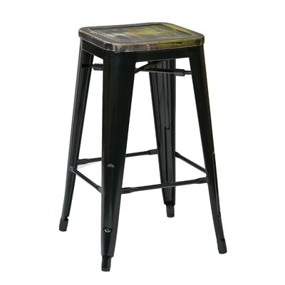 Isabel 26 Bar Stool Seat Finish: Distressed Yellow, Leg Finish: White