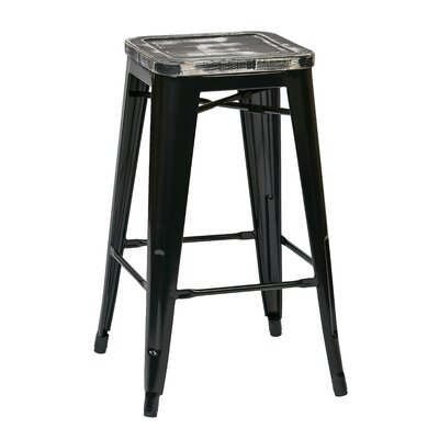 Isabel 26 Bar Stool Seat Finish: Distressed Black, Leg Finish: Black