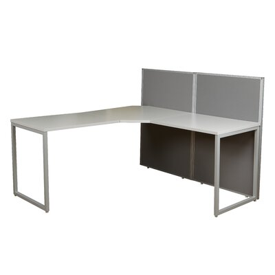 Box Office 90 Degree L-Desk Workstation with 2 Panels