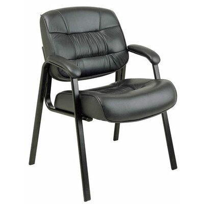 Leather Guest Chair Upholstery: Black