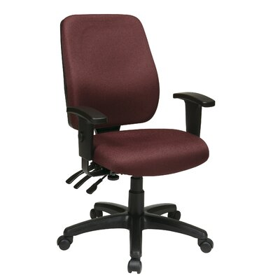 Office Star Work Smart High-Back Dual-Function Ergonomic Office Chair with Arms - Fabric: Gavotte - Blue Arms: Included