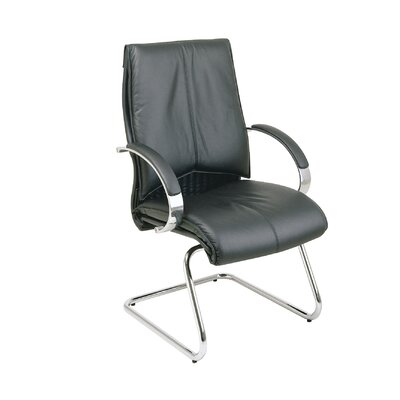 Deluxe Leather Visitors Chair with Chrome Base Fabric: Black Top Grain Leather