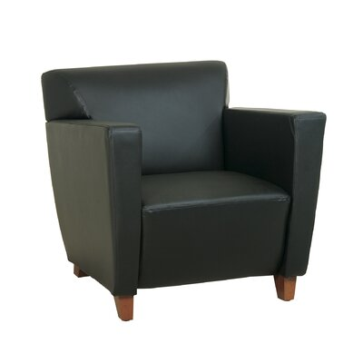 Leather Lounge Chair with Wood Legs Leather Color: Black