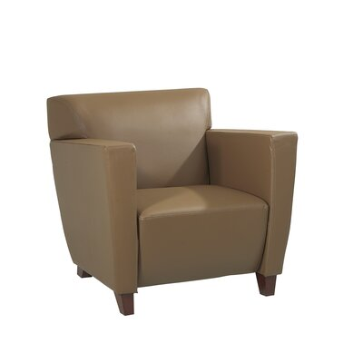 Leather Lounge Chair with Wood Legs Leather Color: Taupe