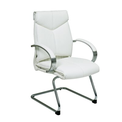 Deluxe Leather Visitors Chair with Chrome Base Fabric: White Top Grain Leather