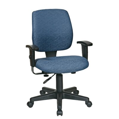 Office Star Work Smart Mid-Back Deluxe Task Chair - Fabric: Icon - Navy, Arms: Included at Sears.com