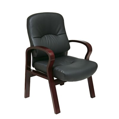 Leather Guest Chair with Wood Base and Arms Finish: Mahogany