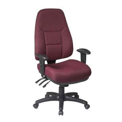 Office Star Worksmart High-Back Office Chair with 2-Way Adjustable Arms - Fabric: Pivot - Lagoon