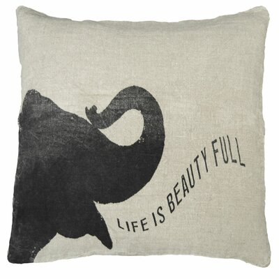 Elephant Speaking Life Linen Throw Pillow