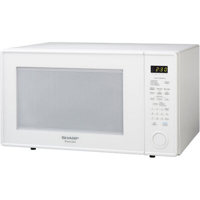 Sharp R659YW 2.2 cu. ft. Countertop Microwave Oven with 1,200 Watts, Removable Glass Turntable, 5 Sensor Cook Programs, Scratch Resistant Glass Door, Auto or Time Defrost and Child Safety Lock: White R659YW