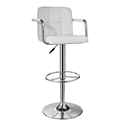 Nashville Adjustable Height Swivel Bar Stool Upholstery: White