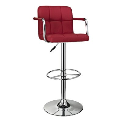 Nashville Adjustable Height Swivel Bar Stool Upholstery: Red