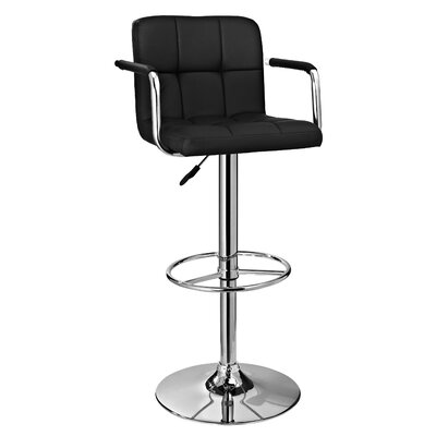 Nashville Adjustable Height Swivel Bar Stool Upholstery: Black