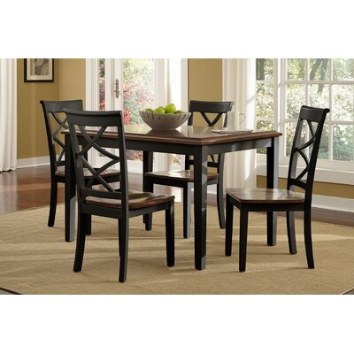 Gingerich 5 Piece Dining Set Finish: Black and Cherry