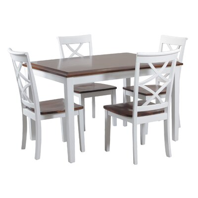 Gingerich 5 Piece Dining Set Finish: Cherry and White