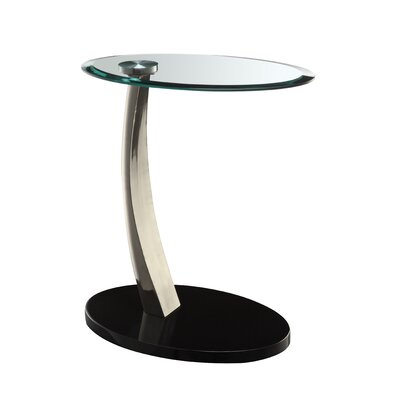 Cheap Powell Oval Chairside Table in Brushed Chrome (PW4296)