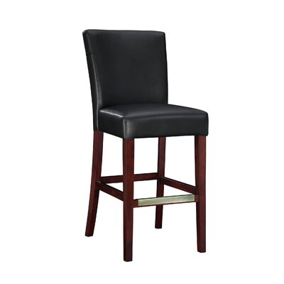 """POWELL L Powell Black Bonded Leather Bar Stool, 30-1/4"""" Seat Height"""