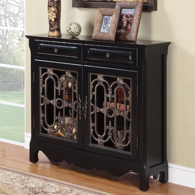 Cheap Powell Two Drawer Scroll Console in Black (PW4441)