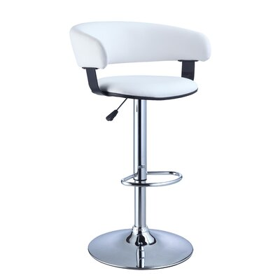 Musgrove Adjustable Height Swivel Bar Stool Finish: White