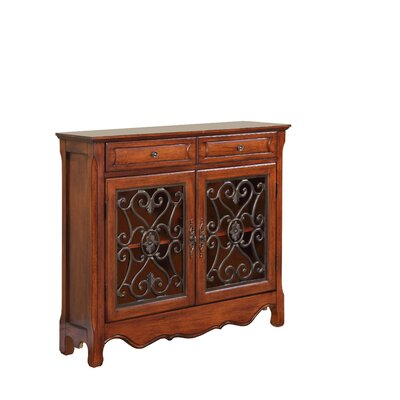 Cheap Powell Two Door and Two Drawer Scroll Console in Light Cherry (PW4597)