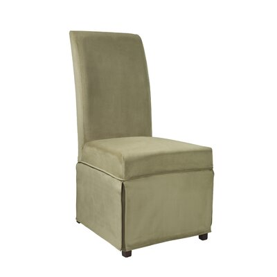 Velvet Skirted Slipcover Upholstery: Basil Green